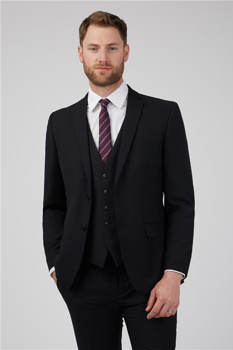 Racing Green Black Textured Tailored Fit Suit