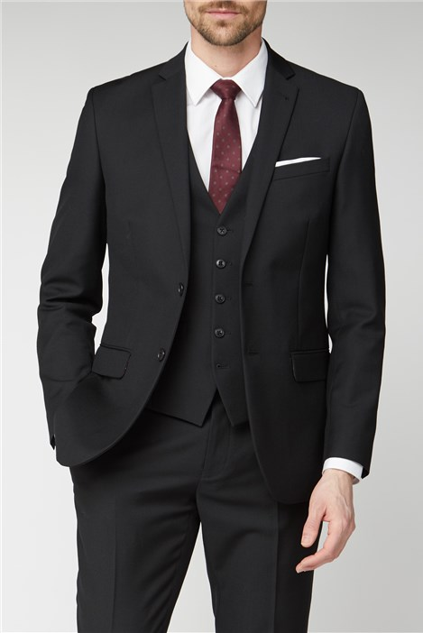 Racing Green Black Textured Regular Fit Suit
