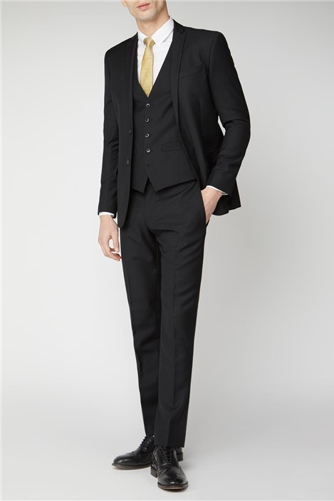 Racing Green Black Textured Slim Fit Suit