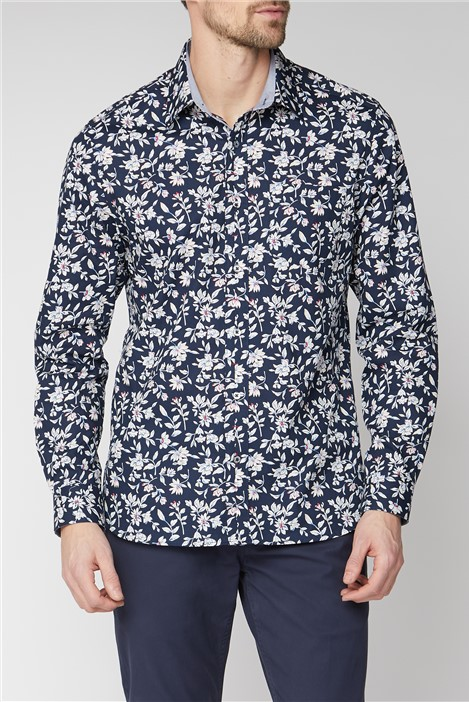 Jeff Banks Casual Navy Sketch Floral Print Shirt