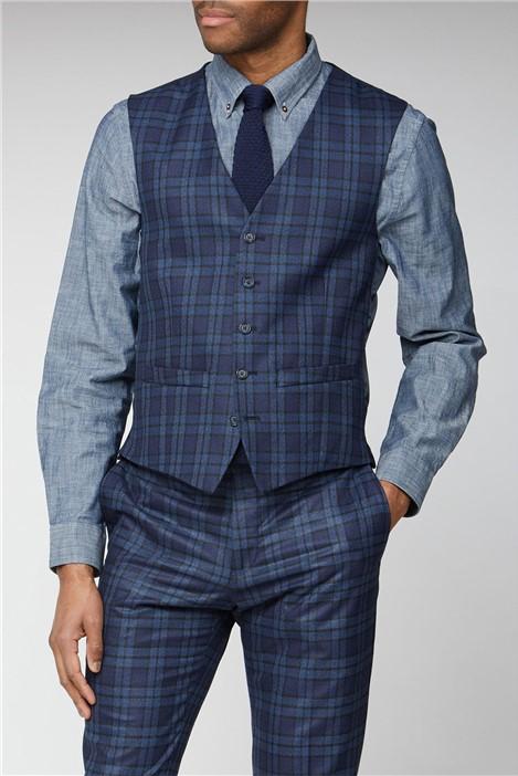 Limehaus Blue Bold Check Slim Fit Waistcoat