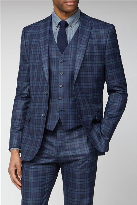 Limehaus Blue Bold Check Slim Fit Suit