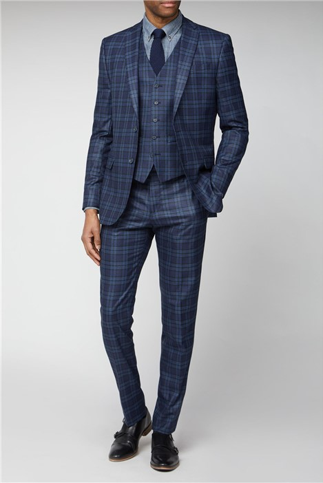 Limehaus Blue Bold Check Slim Fit Suit