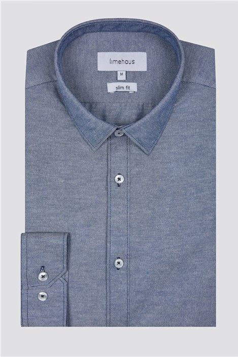 Limehaus Slim Fit Blue Chambray Shirt