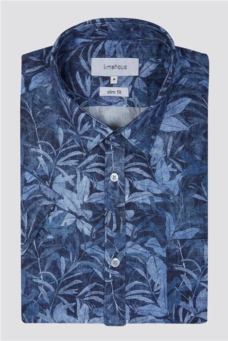 Limehaus Blue Summer Leaf Print Shirt