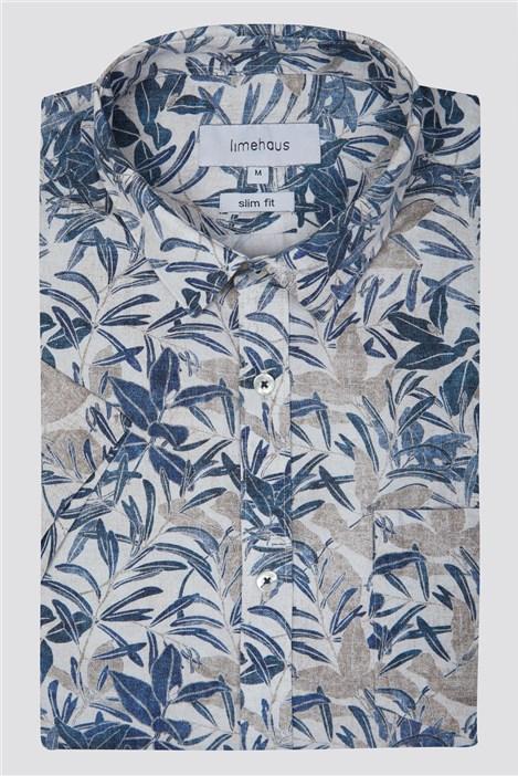 Limehaus Neutral Summer Leaf Print Shirt