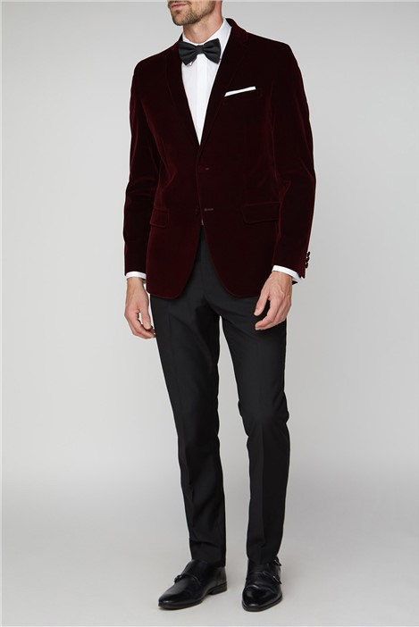 Racing Green Burgundy Velvet Tailored Fit Jacket