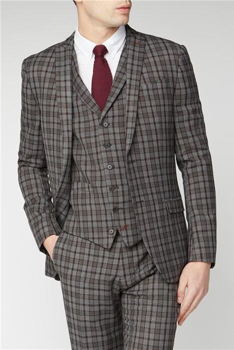Limehaus Grey Burgundy Check Slim Fit Suit Jacket