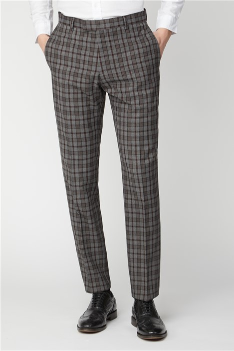 Limehaus Grey Burgundy Check Slim Fit Suit Trousers