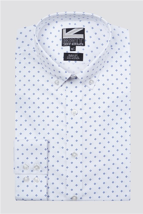 Jeff Banks Brit White Geo Print Shirt