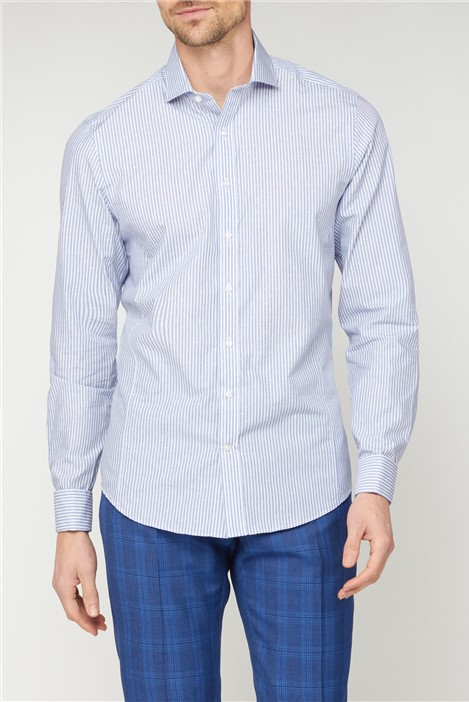 Jeff Banks Brit Blue Dobby Square Stripe Shirt