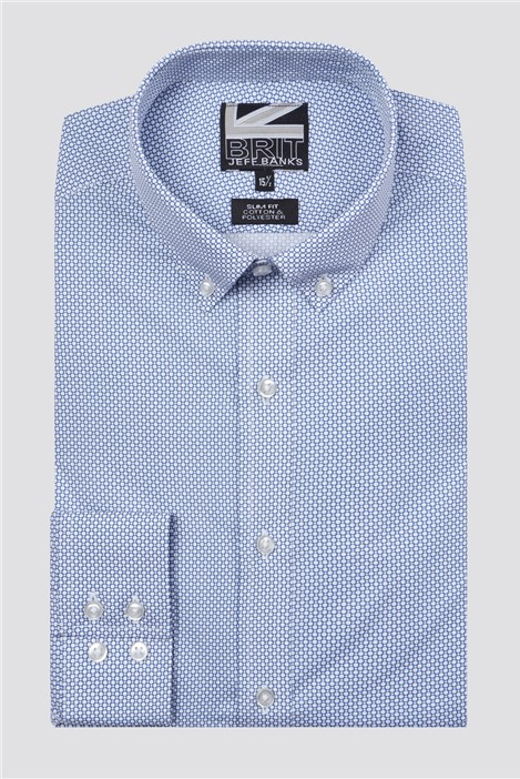 Jeff Banks Brit Blue Circle Print Shirt