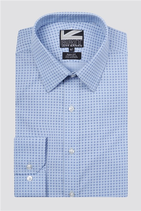 Jeff Banks Brit Light Blue Dashes Print Shirt