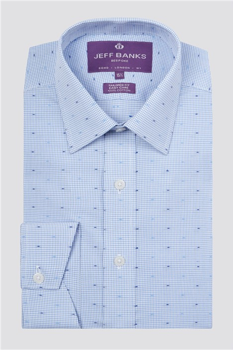 Jeff Banks Bespoke Light Blue Dobby Check Shirt