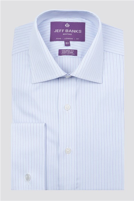 Jeff Banks Bespoke Light Blue Textured Stripe Shirt