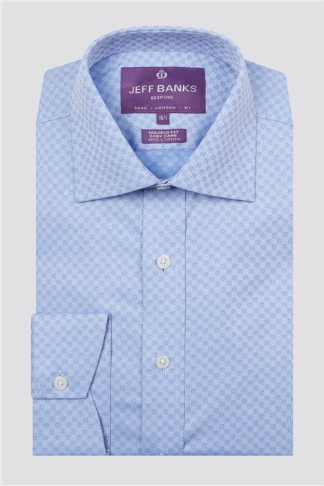 Jeff Banks Bespoke Light Blue Square Textured Shirt