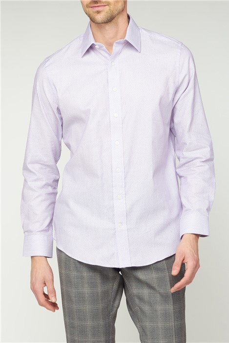 Jeff Banks Bespoke Lilac Square Dobby Tailored Fit Shirt