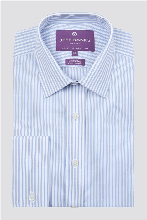 Jeff Banks Bespoke Light Blue Slub Fine Stripe Shirt
