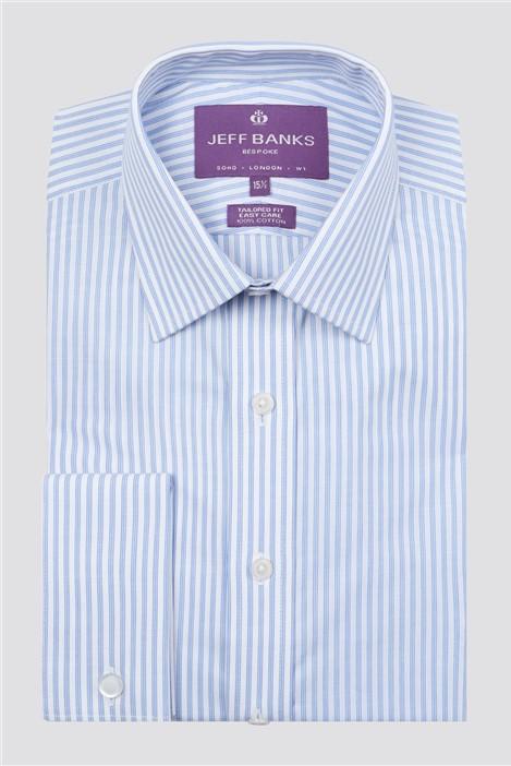 Jeff Banks Bespoke Tailored Fit Light Blue Slub Fine Stripe Shirt