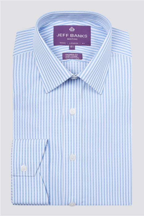 Jeff Banks Bespoke Light Blue Dobby Stripe Shirt