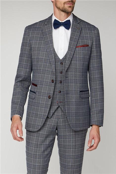 Marc Darcy Enzo Blue Grey Tweed Check Suit Jacket