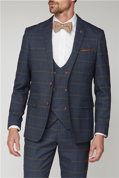 Marc Darcy Jenson Navy Check Suit