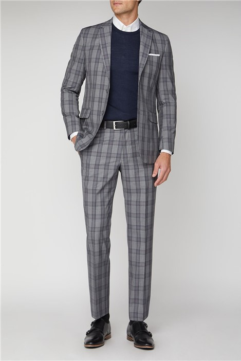 Racing Green Grey Pink Check Regular Fit Suit
