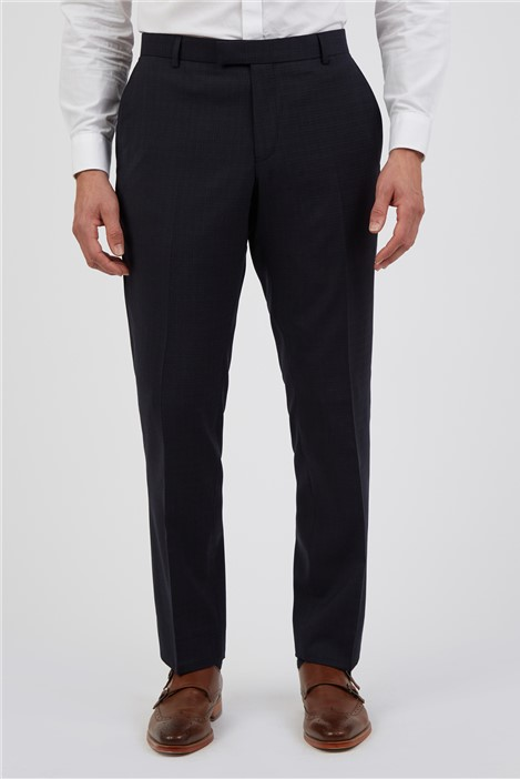 Alexandre of England Tailored Fit Navy Rust Semi Plain Suit Trousers