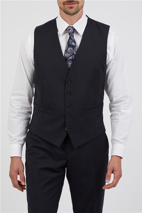 Alexandre of England Tailored Fit Navy Rust Semi Plain Suit Waistcoat