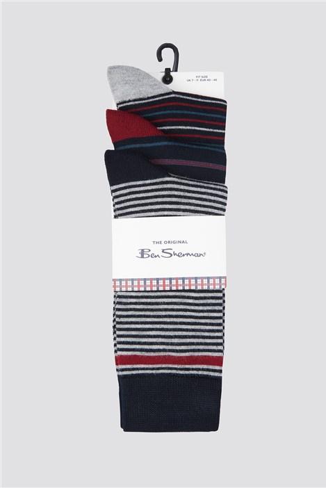 Ben Sherman 3 Pack of Stripe Socks