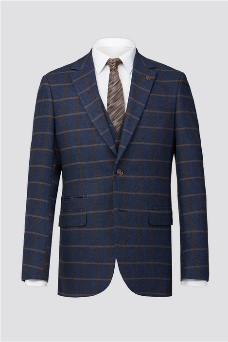 Racing Green Blue Tan Check Tweed Tailored Fit Suit Jacket