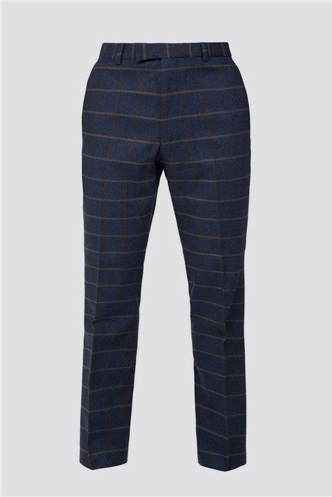 Racing Green Blue Tan Check Tweed Tailored Fit Suit Trouser