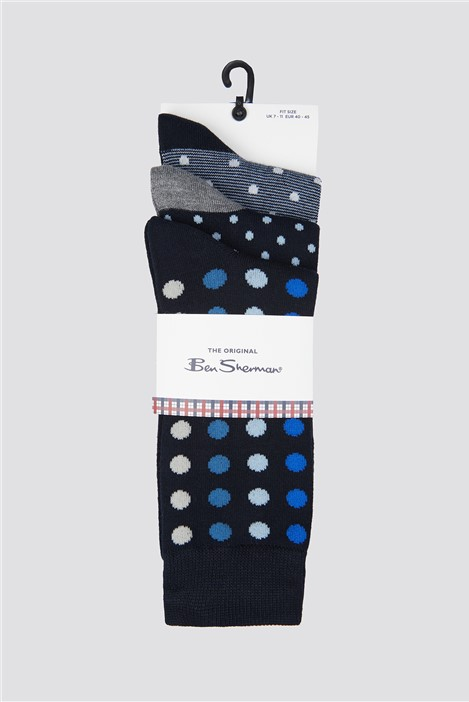 3 Pack of Spotted Socks