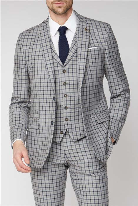 Racing Green Grey with Navy Check Tailored Jacket