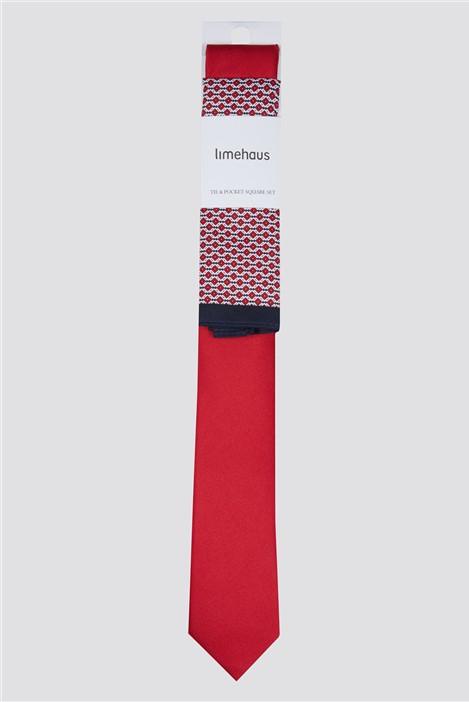 Limehaus Red Tie & Geo Hank Set