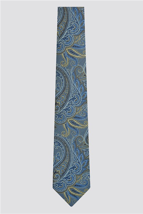 Scott & Taylor Gold & Navy Textured Paisley Tiie