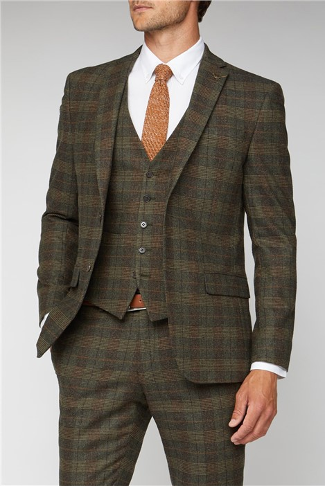 Racing Green Green Tweed Heritage Check Tailored Fit Suit Jacket