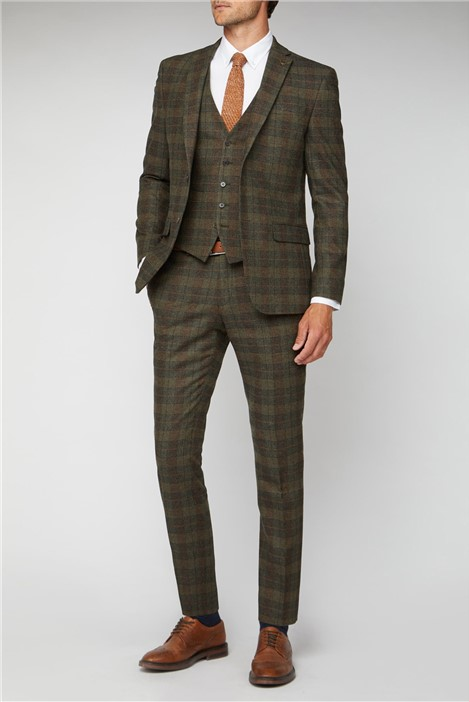 Racing Green Green Tweed Heritage Check Tailored Fit Suit