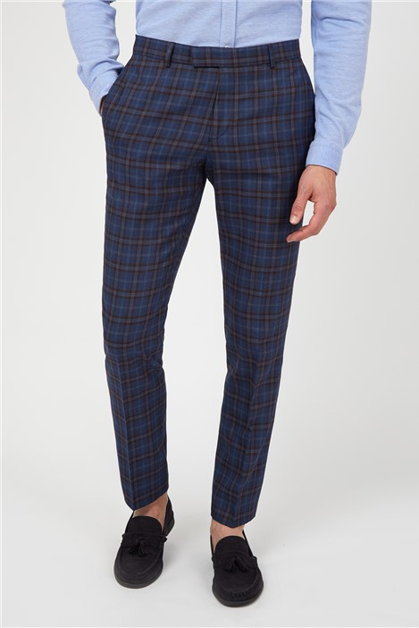 Limehaus Blue Warm Checked Suit Trousers