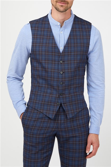 Limehaus Blue with Warm Check Waistcoat