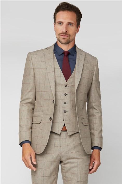 Racing Green Oatmeal Herringbone Check Tweed Tailored Suit