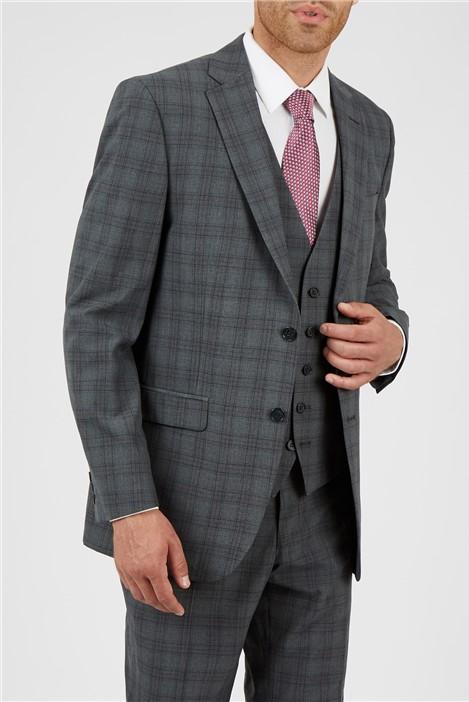 Scott & Taylor Regular Fit Grey Rust Check Suit