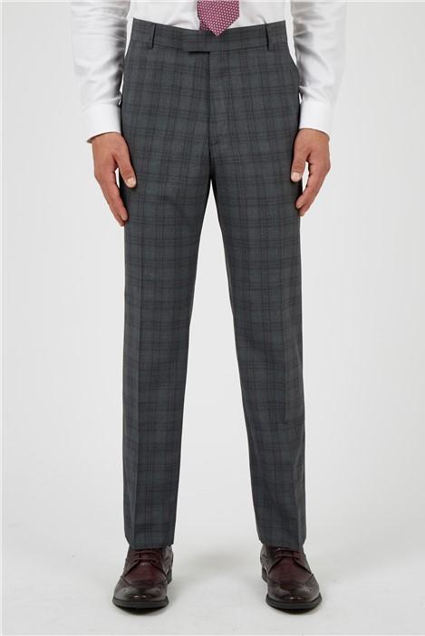 Scott & Taylor Regular Fit Grey Rust Check Suit Trousers