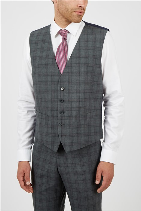 Scott & Taylor Regular Fit Grey Rust Check Suit Waistcoat