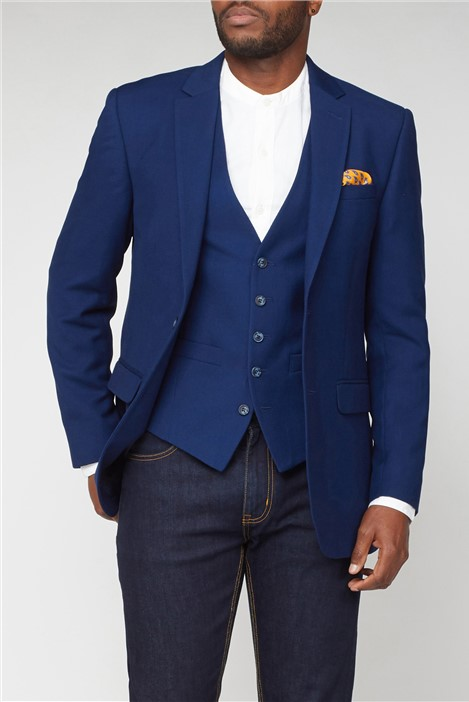 Scott & Taylor Blue Structured Regular Fit Suit