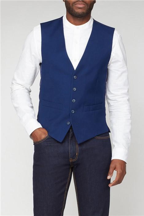 Scott & Taylor Blue Structured Suit Waistcoat