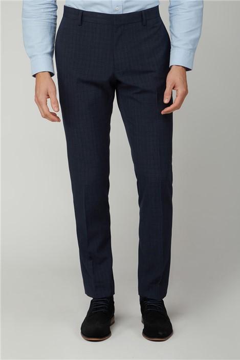 Limehaus Trousers Navy Semi Plain Slim Trousers
