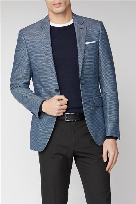 Two Tone Dobby Slim Fit Suit Jacket