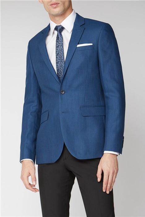 Branded Blue Grid Textured Suit Jacket