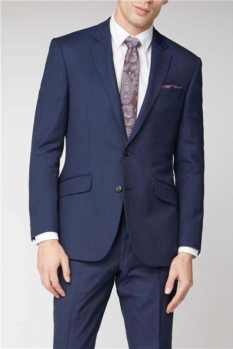Navy Birdseye Textured Suit